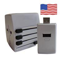 Welt Reisestecker USA mit 2 USB Ports + extra Powerbank