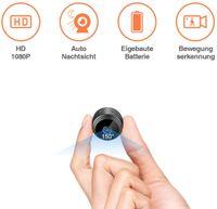 Mini Kamera Klein Akku Überwachungskamera Innen HD Automatische Nachtsicht Minikamera mit Bewegungserkennung und Speicher Aufzeichnung Aussen Tragbare Mikro Nanny Cam
