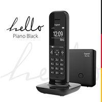 Gigaset Hello Phone - Schnurloses Design-Telefon für Zuhause mit Anrufbeantworter, großem Display und Freisprechfunktion - Schwarz