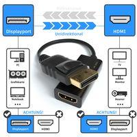 JAMEGA – DisplayPort auf HDMI Adapter 4K 30Hz | Vergoldeter DP 1.2 Stecker 4K Ultra HD 3D Full HD HDCP 32 Bit True Color kompatibel mit HP Elitebook, Lenovo, Thinkpad, Mac, Apple, Grafikkarten