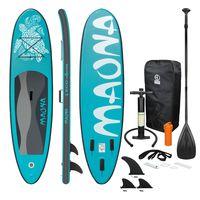 ECD Germany Aufblasbares Stand Up Paddle Board Maona | 308 x 76 x 10 cm | Türkis | PVC | bis 120kg | Pumpe Tragetasche Zubehör | SUP Board Paddling Board Paddelboard Surfboard | verschiedene Farben