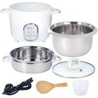 KeMar Kitchenware KRC-175 Reiskocher | 5 Programme | 1,4L | Edelstahltopf | Glasdeckel | Dämpfeinsatz