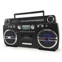 Ghetto-Blaster schwarz tragbare Bluetooth mit CD / Kassette - 60W - USB - Schlacht Straße
