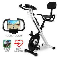 Miweba Indoor Cycling X-Bike F-Bike klappbar Heimtrainer Cycle Fahrrad Ergometer (Schwarz Weiß)