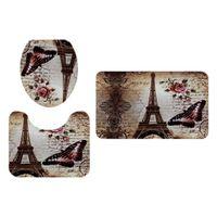 3 Stück Badezimmer Landschaft Muster Toilettendeckel Abdeckung Sockelmatte Eiffelturm wie beschrieben