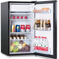 COSTWAY Kühlschrank mit Gefrierfach Standkühlschrank Gefrierschrank Kühl-Gefrier-Kombination 91L Schwarz