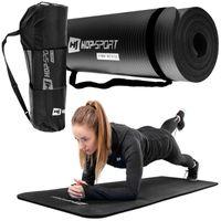 Hop-Sport Gymnastikmatte 1cm - rutschfeste Yogamatte für Fitness Pilates & Gymnastik mit Transporttasche - Maße 180cm Länge 61cm Breite  - schwarz
