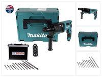 Makita HR 2631 FTJ Kombihammer 800 W SDS Plus + Schnellspannbohrfutter + Bohrer und Meißel Set 11 tlg. PGM  + Makpac