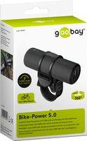 Goobay Fahrrad Powerbank Bike Power - 5000 mAh - zur Montage am Lenker mit LED Taschenlampe und Ladestatus Anzeige