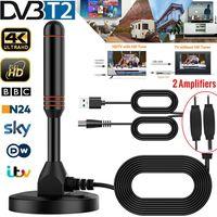 30dbi Leistungsstarke DVB-T2 1080P HD Antenne DVBT DAB Stabantenne 2 Verstärker