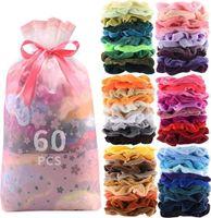 60 Stück Hohe Qualität Scrunchies Samt Haargummis, 60 Farben Elastische Haar Gummibänder Haarbänder, Pferdeschwanz Haarband Haarschmuck für Mädchen Frauen