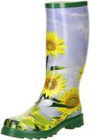 ConWay Damen Gummistiefel Sonnenblumenmuster gelb, Größe:41, Farbe:Grün