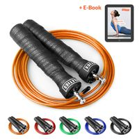 Joyletics® Springseil Speed Rope »premium« mit Tasche | Speedrope für Cardiotraining mit Kugellager-Gelenk und verstellbarem Stahlseil | inklusive praktischer Aufbewahrungstasche und Ersatzseil in orange