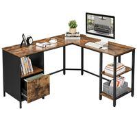 VASAGLE Schreibtisch mit Schrank und Hängeregistratur | Computertisch Bürotisch 2 Ablagen platzsparend einfache Montage vintagebraun-schwarz LWD75X