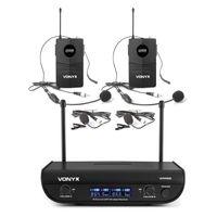 Vonyx WM82B Digital 2-Kanal-UHF-Funkmikrofon System  ,  2x Headsetmikrofon & Taschensender  ,  bis 50 m Reichweite  ,  Transportkoffer