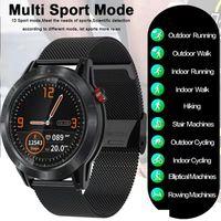 ATOKIT Cross Men Smartwatch IP68 Wasserdichter Fitness-Tracker Herzfrequenz-Blutdruckmessgerät Bluetooth-Musik Armbanduhr Armband Smartband Outdoor-Sport Smartwatch für Android IOS Metallic-Schwarz
