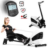 Hop-Sport Rudergerät für Zuhause klappbar HS-060R Cross - Rudermaschine mit LCD-Display & 8-stufigem, leisem Magnetbremssystem - max. Nutzergewicht 120kg