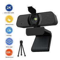 ATOKIT 2020 Neuer 2K HD Webcam USB Treiber Kostenloser Smart TV Computer Autofokus Webkamera mit Mikrofon und Ständer für Windows Android Linux