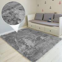 Hochflor Teppich 160x230 cm Langflor Shaggy Teppiche für Wohnzimmer flauschig Bettvorleger Schlafzimmer Outdoor Grau