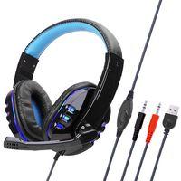 SY733MV Wired Computer Gaming Kopfhörer Over-Ear-Spiel-Headset mit Mikrofon AUX + USB-Port Lautstärkeregler für PC