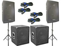 Das Lautsprecher SET 2 DJ 3Wege 30 cm Boxen Stativ 38 cm Subwoofer Musiker 3000W