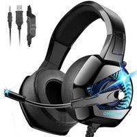 Onikuma Gaming-Kopfhörer, PS4 mit Mikrofon mit Geräuschunterdrückung, 4D Surround Sound 7.1 Stereo Bügel verstellbar & Licht Kopfhörer Gamer für Playstation/PC/Switch/Xbox/MAC/PSP