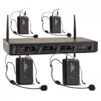 Malone Duett Quartett Fix V3 - 4-Kanal UHF-Funkmikrofon Set , Funk-Mikrofon System , 4 x kabelloses Headset-Mikrofon , 2 x XLR- und 1 x Klinken-Ausgang , integrierter Pop-Schutz , schwarz