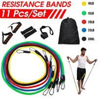 MECO 11 Stück Fitness Tube Set Gymnastik Band Widerstandsband Expander Trainingsbänder Elastisch DE Lager