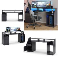 Vicco Computertisch Joel Groß PC-Tisch Schwarz Gamingtisch Schreibtisch Büromöbel