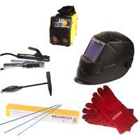 Aktionsset WELDINGER EW 140 mini MMA-/WIG-Schweißinverter Helm Hammer Elektroden Handschuhe