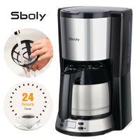 Sboly Kaffeemaschine SY-9110TA, Filterkaffeemaschine Espresso, 24-Stunden-Timer, 5 min Brühzeit, 35oz Thermoskanne, Programmierbarer, 2-8 Tassen, 900W, Silber