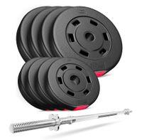 Hop-Sport Hantelset 39 kg, 1x Langhantelstange, Hantelscheiben: 4x5kg + 4x2,5kg Gewichte Langhantel