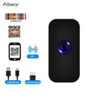Aibecy Handheld 3-in-1-Barcode-Scanner 1D / 2D / QR-Barcode-Lesegeraet BT- und 2.4G-Kabel- und USB-Kabelverbindung Kompatibel mit Windows Android Mac iOS fuer Supermarket Retail Logistics Warehouse