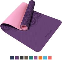 TOPLUS Yogamatte, Pilatesmatte, Gymnastikmatte, rutschfest aus TPE,Übungsmatte Sportmatte für Yoga,Pilates, Fitness usw. (183 x 61 x 0,6cm)-Lila&Rosa