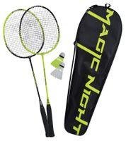 Talbot Torro Badminton-Set Magic Night, 2 Schläger, 2 LED Federbälle für das Spiel bei Nacht, in wertiger Tasche