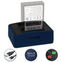Doppel-Ladegerät (USB) für BLS-50, BLS-5, BLS-1 | OM-D E-M10 (Mark I / II / III) | PEN E-P/PL/PM… | Olympus E-… - s. Liste! - inkl. Micro-USB-Kabel (2 Akkus gleichzeitig ladbar)