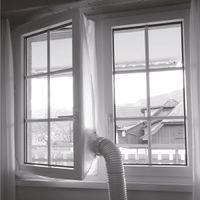 Bestron universelle Fensterabdichtung für mobile Klimageräte und Abluftschläuche, optimal für Fenster bis 400cm Umfang, selbstklebendes Klettband und Montageanleitung, Weiß