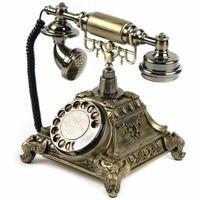 Vintage Rotary-Wahl Telefon Antikes Stil Retro Haustelefon Tischtelefon Festnetztelefon Retro-Klingeltöne Büro(Gold)