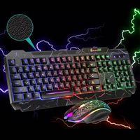 PC Gaming Tastatur + Maus Set 1600DPI Set LED RGB Mehrfarbig Regenbogen Deutsches für Xbox PS4 Computer Desktop Laptop