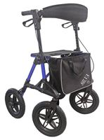 Geländerollator / Outdoor-Rollator Silva, LUFTBEREIFT mit Rückengurt, Stockhalter und Tasche - **SICHER AUCH BEI SCHLECHTEM WETTER!!!**