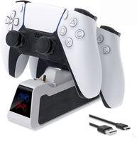 Ladestation für PS5 Controller, PS5 Ladegerät Ständer Schnelles Laden für 2 Controller gleichzeit auf laden, PS5 Controller Ladestation mit LED leuchte Anzeige(Schwarz&Weiß)