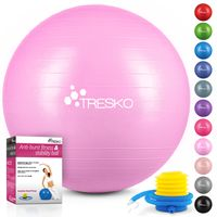 TRESKO Gymnastikball (Princess-Pink, 65cm) mit Pumpe Fitnessball Yogaball Sitzball Sportball Pilates Ball Sportball