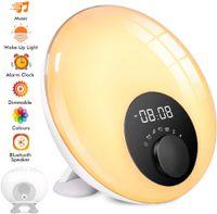 VADOOLL Lichtwecker mit Bluetooth Lautsprecher, Kinderwecker mit Schlummer, Sonnenaufgang- & Sonnenuntergang-Simulation und Schlafhilfe, Stimmungslicht mit 7 Farben, 10 Melodie, Touch-Bedienung