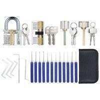 17 PCS Lock Picking Set mit Aufbewahrungstasche + 4 PCS Visible Practice Lock Set Transparentes Vorhaengeschloss Training Schlosserwerkzeuge Lockpicking Set fuer Anfaenger Profis Kinder