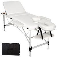 tectake 3 Zonen Massageliege mit 5cm Polsterung und Aluminiumgestell - weiß