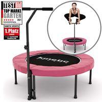 Kinetic Sports Fitness Trampolin Indoor Ø 100 cm,  RUND, höhenverstellbarer Haltegriff, Gummiseilfederung, Randabdeckung PINK, belastbar bis 120 kg