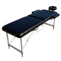 Mobile Massageliege Massagebank 2 Zonen + Tasche Kopfstütze Ergonomische Schwarz Kosmetikliege Tragbar Aluminium Füße Höhenverstellbaren Massagebett