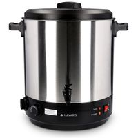 Navaris 2in1 Einkochautomat mit Glühweinkocher Funktion - 27 Liter Timer bis 120min Thermostat Zapfhahn - Einkochtopf auch für Heißgetränke Silber