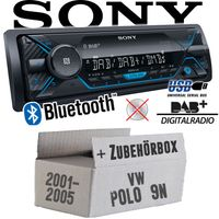 Autoradio Radio Sony DSX-A510BD - DAB+ | Bluetooth | MP3/USB - Einbauzubehör - Einbauset für VW Polo 9N - JUST SOUND best choice for caraudio