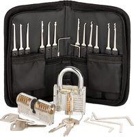 33pcs Edelstahl Lock Picking Tools Set mit 2 Transparenten Trainingsschloss